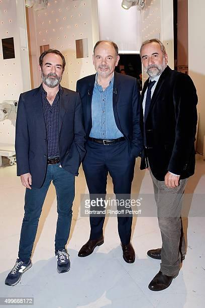 Actors Bruno Solo JeanPierre Darroussin and Antoine Dulery attend 'Vivement Dimanche' French TV Show at Pavillon Gabriel on December 2 2015 in Paris...