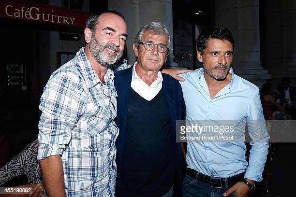 Actors Bruno Solo Michel Boujenah and Pascal Elbe attend 'Un diner d'adieu' Premiere Held at Theatre Edouard VII on September 15 2014 in Paris France