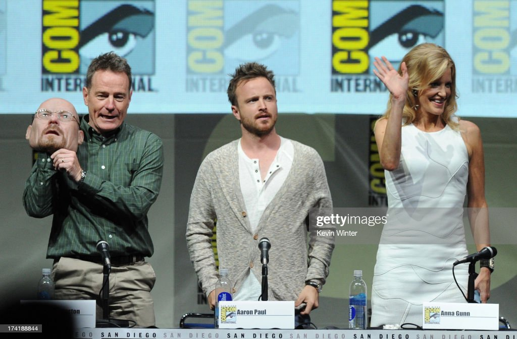 Actors Bryan Cranston, Aaron Paul, and Anna Gunn speak onstage at the 'Breaking Bad' panel during Comic-Con International 2013 at San Diego Convention Center on July 21, 2013 in San Diego, California.