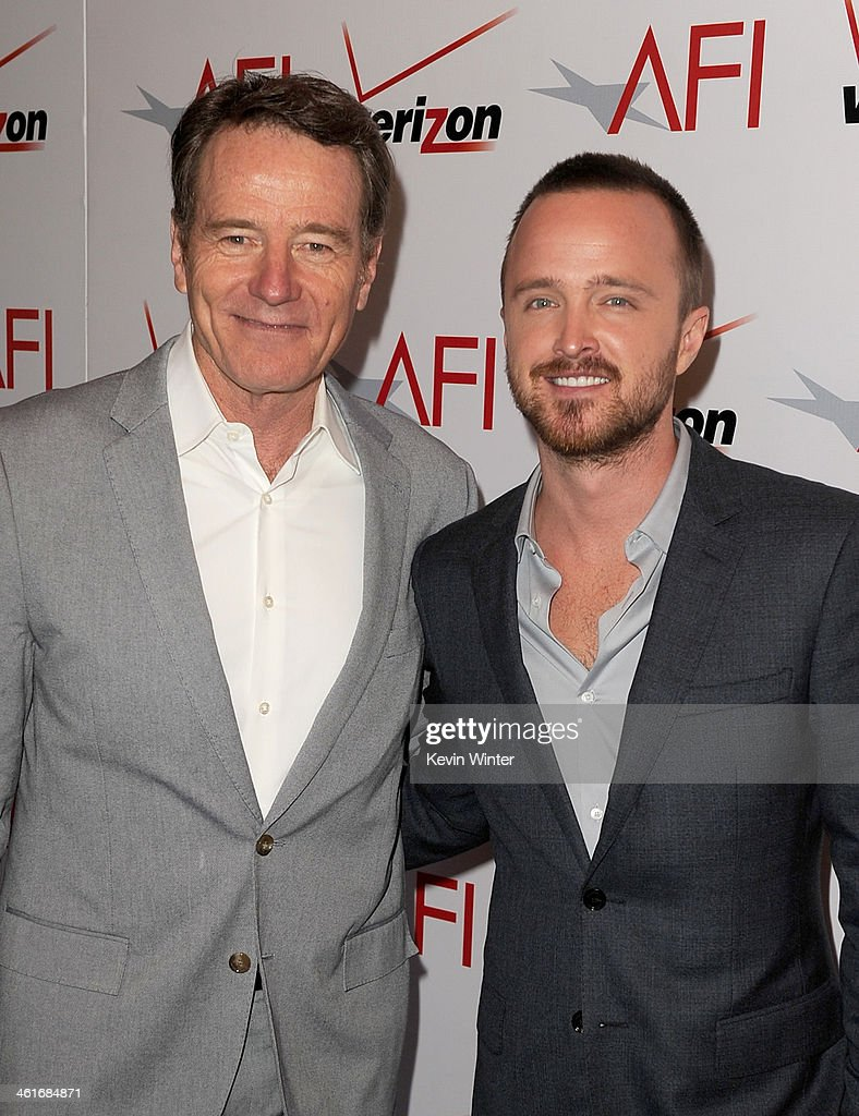 Actors Bryan Cranston (L) and Aaron Paul attend the 14th annual AFI Awards Luncheon at the Four Seasons Hotel Beverly Hills on January 10, 2014 in Beverly Hills, California.