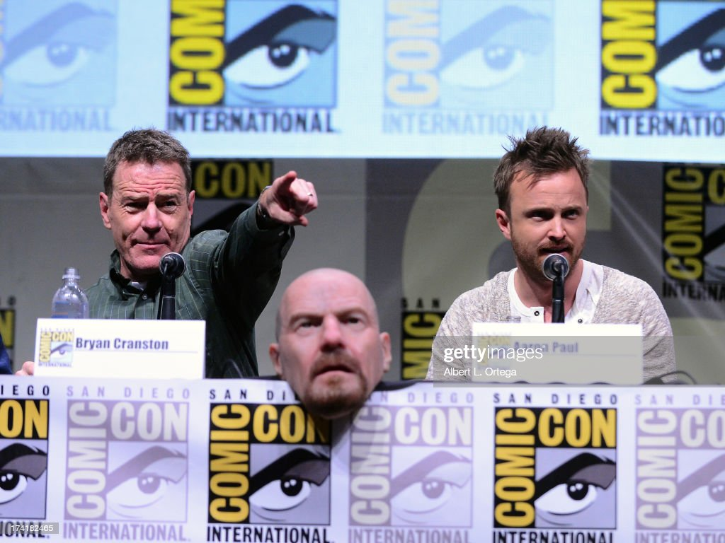 Actors Bryan Cranston (L) and Aaron Paul speak onstage at the 'Breaking Bad' panel during Comic-Con International 2013 at San Diego Convention Center on July 21, 2013 in San Diego, California.