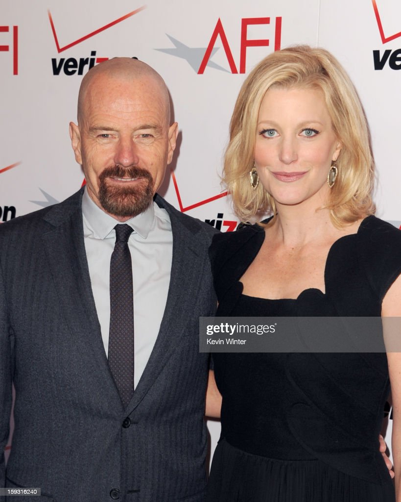 Actors <a gi-track='captionPersonalityLinkClicked' href=/galleries/search?phrase=Bryan+Cranston&family=editorial&specificpeople=217768 ng-click='$event.stopPropagation()'>Bryan Cranston</a> (L) and <a gi-track='captionPersonalityLinkClicked' href=/galleries/search?phrase=Anna+Gunn&family=editorial&specificpeople=589359 ng-click='$event.stopPropagation()'>Anna Gunn</a> attend the 13th Annual AFI Awards at Four Seasons Los Angeles at Beverly Hills on January 11, 2013 in Beverly Hills, California.