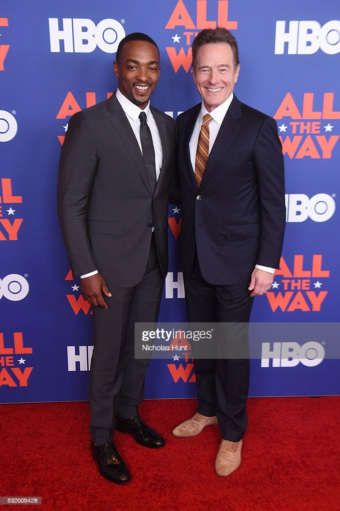 Actors Bryan Cranston and Anthony Mackie attend the NYC special screening of HBO Films' 'All The Way' at Jazz at Lincoln Center on May 17 2016 in New...