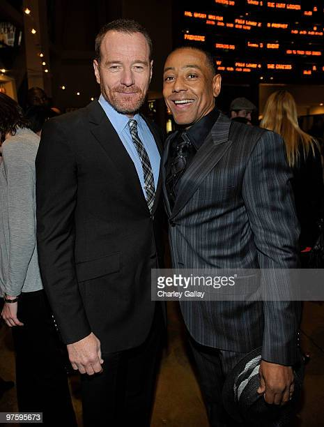 Actors Bryan Cranston and Giancarlo Esposito attend the third season premiere of AMC and Sony Pictures Television's 'Breaking Bad' at the ArcLight...