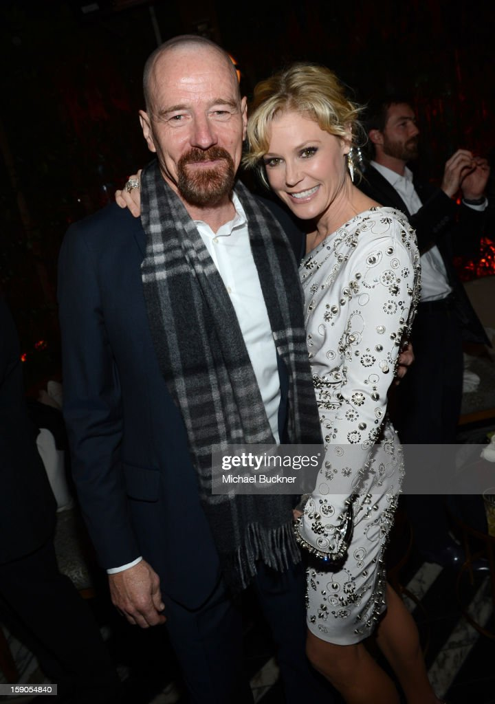 Actors <a gi-track='captionPersonalityLinkClicked' href=/galleries/search?phrase=Bryan+Cranston&family=editorial&specificpeople=217768 ng-click='$event.stopPropagation()'>Bryan Cranston</a> (L) and <a gi-track='captionPersonalityLinkClicked' href=/galleries/search?phrase=Julie+Bowen&family=editorial&specificpeople=244057 ng-click='$event.stopPropagation()'>Julie Bowen</a> attend the Audi Golden Globes Kick Off 2013 at Cecconi's Restaurant on January 6, 2013 in Los Angeles, California.