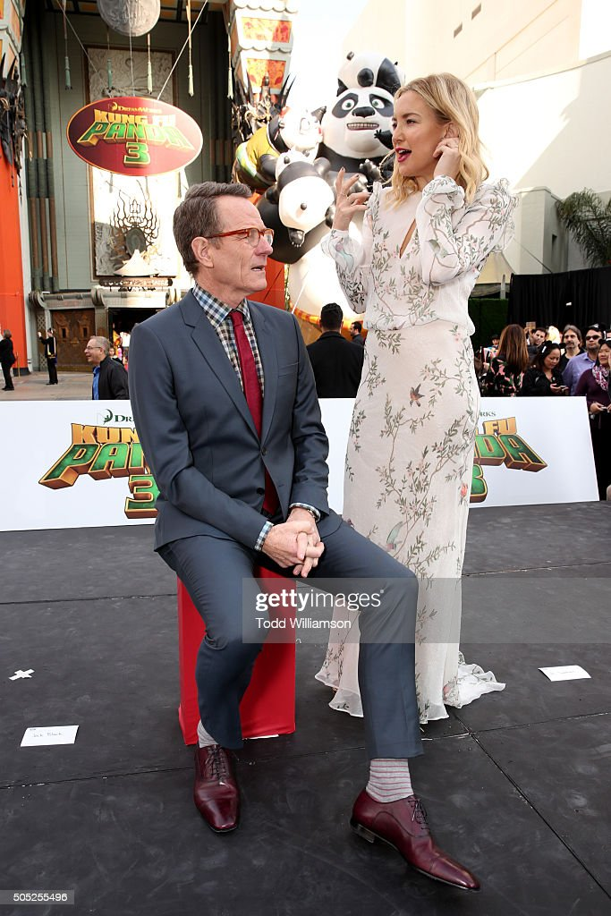 Actors Bryan Cranston and Kate Hudson attend the premiere of DreamWorks Animation and Twentieth Century Fox's 'Kung Fu Panda 3' at the TCL Chinese...