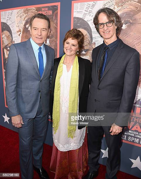 Actors Bryan Cranston and Melissa Leo and director/executive producer Jay Roach attend the 'All The Way' Los Angeles Premiere at Paramount Studios on...