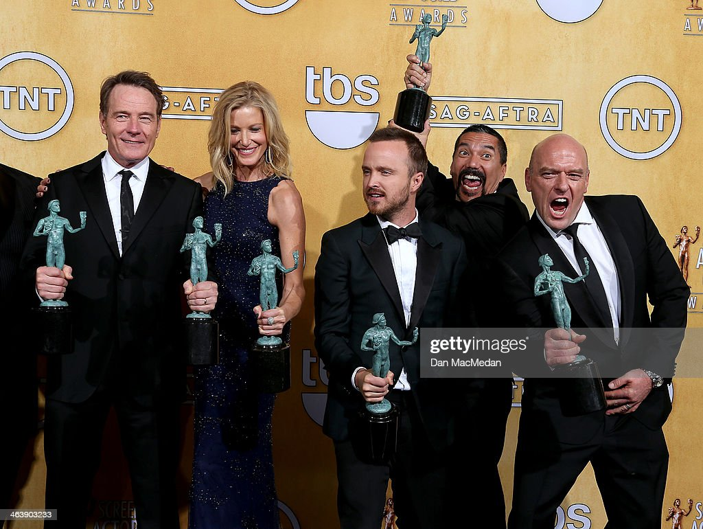 Actors Bryan Cranston, Anna Gunn, Aaron Paul, Steven Michael Quezada and Dean Norris pose in the press room with the award for Outstanding Performance By An Ensemble In A Drama Series award for 'Breaking Bad' at the 20th Annual Screen Actors Guild Awards at the Shrine Auditorium on January 18, 2014 in Los Angeles, California.