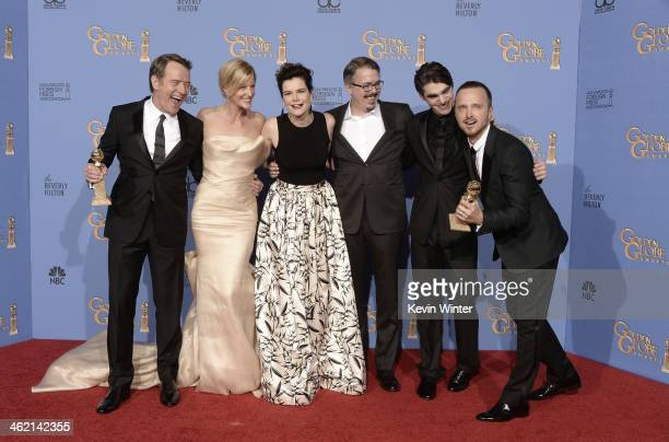 Actors Bryan Cranston Anna Gunn and Betsy Brandt writerproducer Vince Gilligan actors RJ Mitte and Aaron Paul winners of Best Series – Drama for...