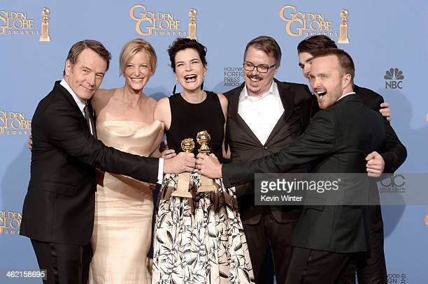 Actors Bryan Cranston Anna Gunn and Betsy Brandt writerproducer Vince Gilligan actors RJ Mitte and Aaron Paul winners of Best Series Drama for...