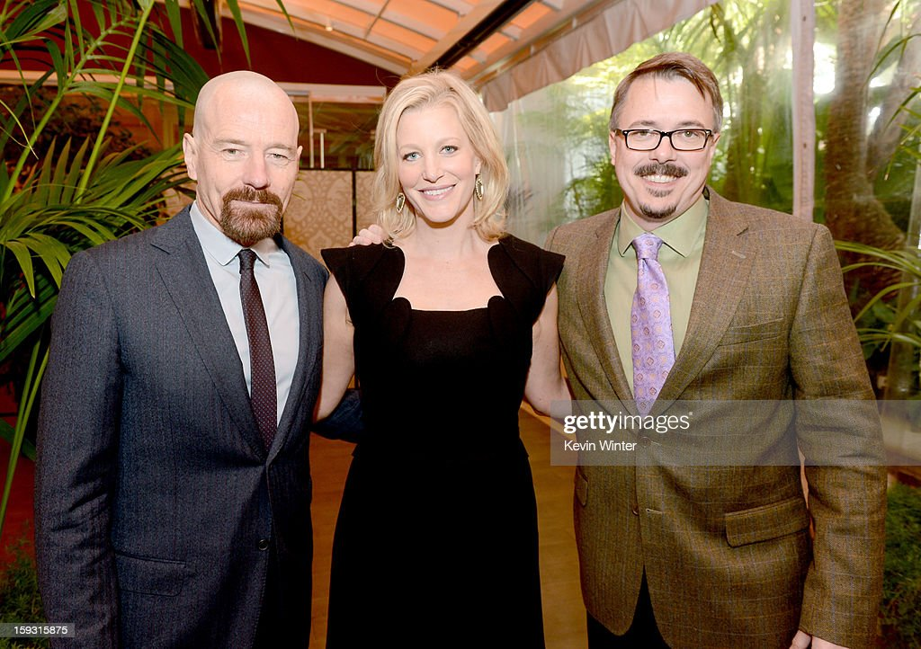 Actors <a gi-track='captionPersonalityLinkClicked' href=/galleries/search?phrase=Bryan+Cranston&family=editorial&specificpeople=217768 ng-click='$event.stopPropagation()'>Bryan Cranston</a>, <a gi-track='captionPersonalityLinkClicked' href=/galleries/search?phrase=Anna+Gunn&family=editorial&specificpeople=589359 ng-click='$event.stopPropagation()'>Anna Gunn</a> and writer/producer <a gi-track='captionPersonalityLinkClicked' href=/galleries/search?phrase=Vince+Gilligan&family=editorial&specificpeople=4360133 ng-click='$event.stopPropagation()'>Vince Gilligan</a> attend the 13th Annual AFI Awards at Four Seasons Los Angeles at Beverly Hills on January 11, 2013 in Beverly Hills, California.