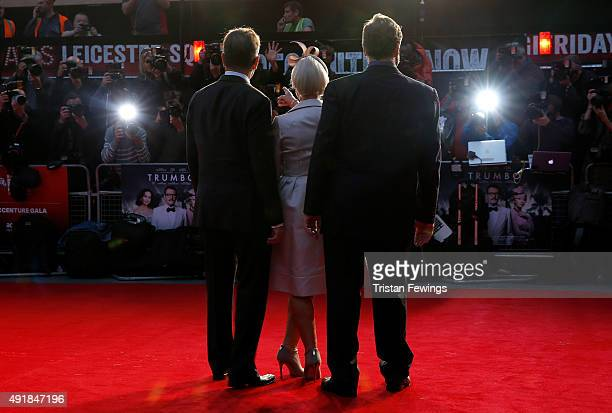 Actors Bryan Cranston Helen Mirren and John Goodman attend the 'Trumbo' premiere during the BFI London Film Festival at the Odeon Leicester Square on...