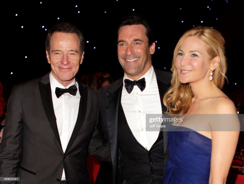 Actors <a gi-track='captionPersonalityLinkClicked' href=/galleries/search?phrase=Bryan+Cranston&family=editorial&specificpeople=217768 ng-click='$event.stopPropagation()'>Bryan Cranston</a>, <a gi-track='captionPersonalityLinkClicked' href=/galleries/search?phrase=Jon+Hamm&family=editorial&specificpeople=3027367 ng-click='$event.stopPropagation()'>Jon Hamm</a> and <a gi-track='captionPersonalityLinkClicked' href=/galleries/search?phrase=Jennifer+Westfeldt&family=editorial&specificpeople=228494 ng-click='$event.stopPropagation()'>Jennifer Westfeldt</a> attend the 64th Primetime Emmy Awards Governors Ball at Los Angeles Convention Center on September 23, 2012 in Los Angeles, California.