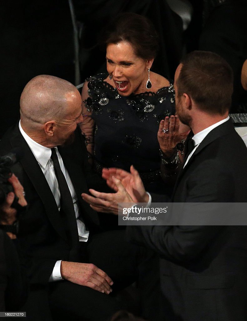 Actors Bryan Cranston, Robin Dearden, and Aaron Paul attend the 19th Annual Screen Actors Guild Awards at The Shrine Auditorium on January 27, 2013 in Los Angeles, California. (Photo by Christopher Polk/WireImage) 23116_012_1275.jpg