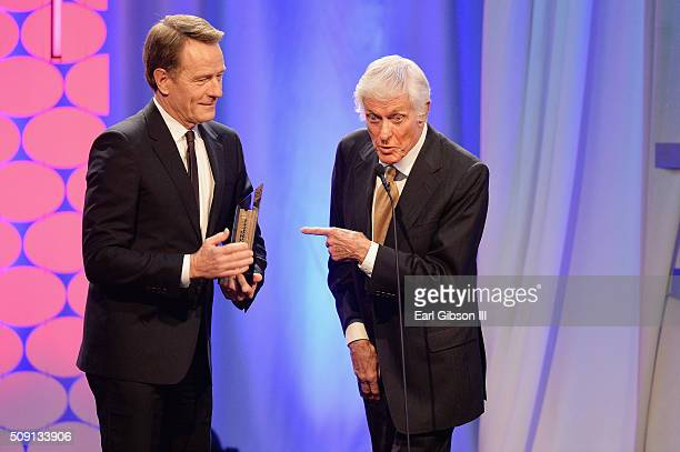 Actors Bryan Cranston winner of the Best Actor award for 'Trumbo' and Dick Van Dyke speak onstage at AARP's 15th Annual Movies For Grownups Awards at...