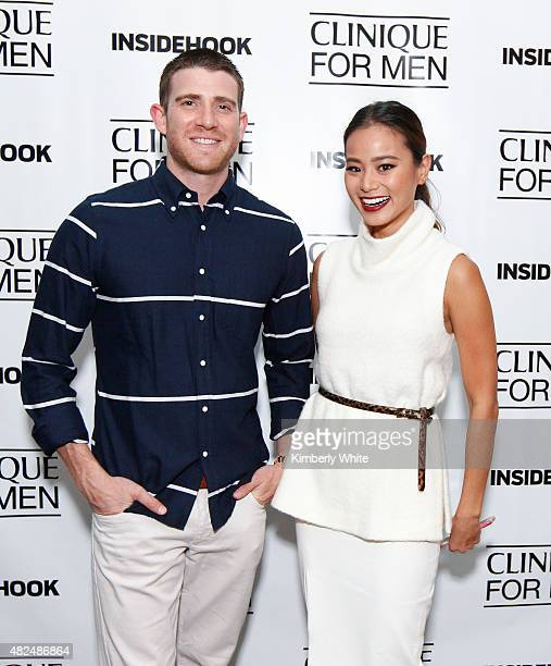 Actors Bryan Greenberg and Jamie Chung pose for a photograph ath the Clinique For Men Celebrates Debut of Sonic System Deep Cleansing Brush and...