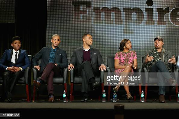Actors Bryshere Gray Jussie Smollett Trai Byers Taraji P Henson Terrence Howard speak onstage during the 'Empire' panel discussion at the FOX portion...