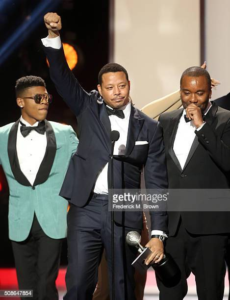 Actors Bryshere Y Gray aka Yazz Terrence Howard and director Lee Daniels accept award for Outstanding Drama Series for 'Empire' onstage during the...