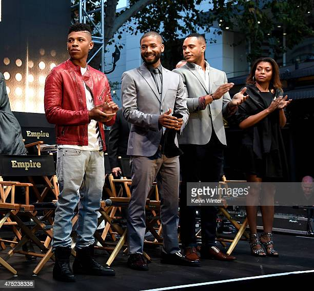Actors Bryshere 'Yazz' Gray Jussie Smollett Trai Byers and Taraji P Henson appear onstage at the Television Academy event for Fox Tv's 'Empire' A...