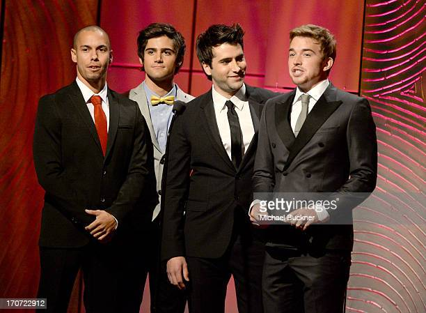 Actors Bryton James Max Erich Freddie Smith and Chandler Massey speak onstage during the 40th Annual Daytime Emmy Awards at the Beverly Hilton Hotel...