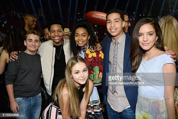 Actors Buddy Handleson Tyrel Jackson Williams Brec Bassinger Yara Shahidi Marcus Scribner and Lilimar attend Nickelodeon's 2016 Kids' Choice Awards...