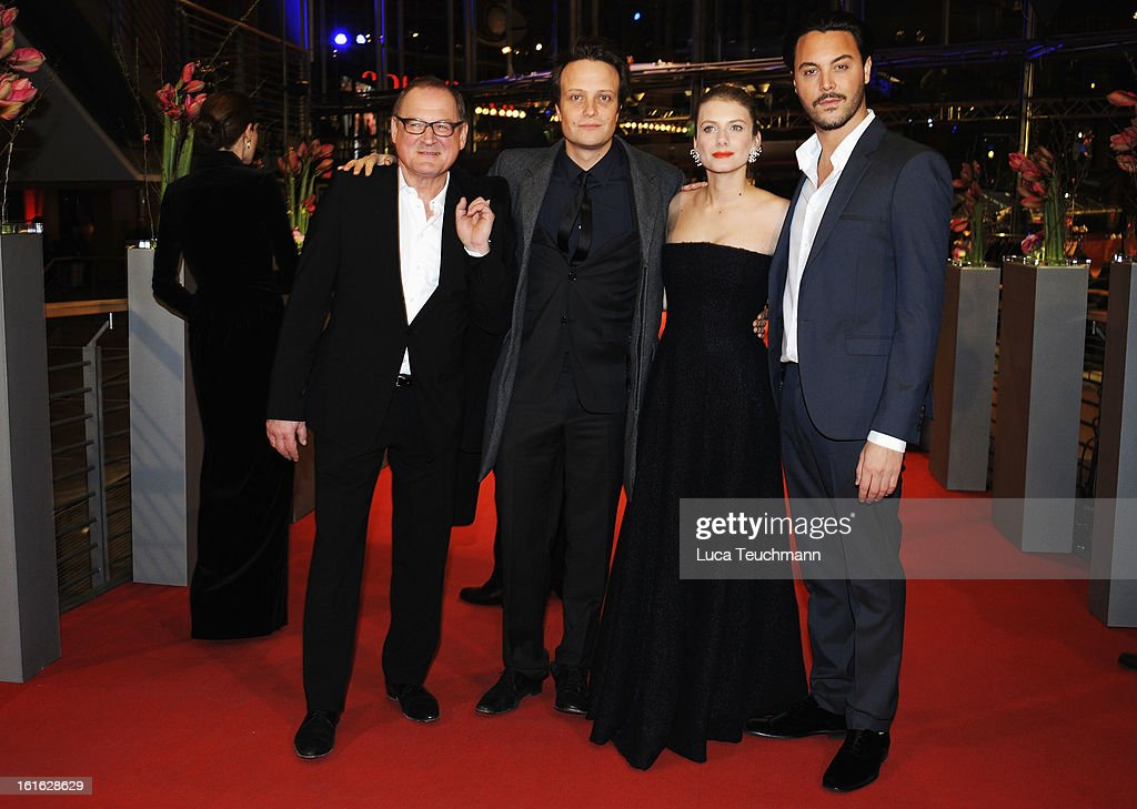 Actors Burghart Klaussner August Diehl Melanie Laurent and Jack Huston attend the 'Night Train to Lisbon' Premiere during the 63rd Berlinale...