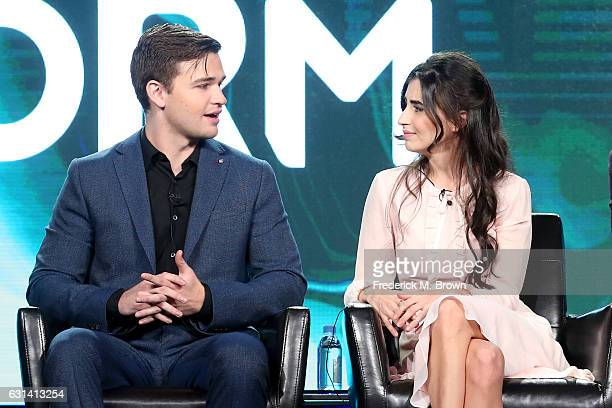 Actors Burkely Duffield and Dilan Gwyn of the television show 'Beyond' speak onstage during the DisneyABC portion of the 2017 Winter Television...
