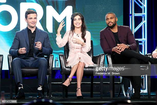 Actors Burkely Duffield Dilan Gwyn and Jeff Pierre of the television show 'Beyond' speak onstage during the DisneyABC portion of the 2017 Winter...