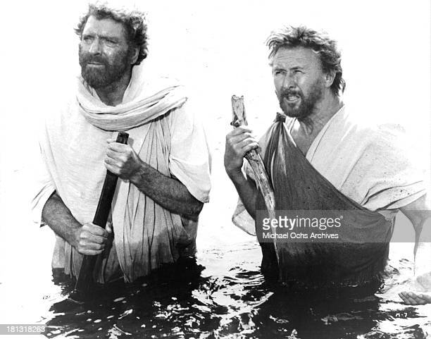 Actors Burt Lancaster and Anthony Quayle on set for the TV MiniSeries ' Moses the Lawgiver ' in 1974