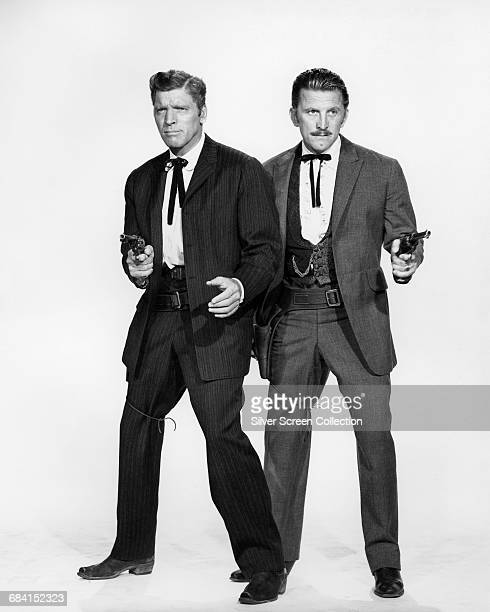 Actors Burt Lancaster and Kirk Douglas in a publicity portrait issued for the film 'Gunfight at the OK Corral' USA 1957 The Western directed by John...