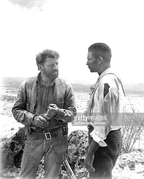 Actors Burt Lancaster and Ossie Davis on set of the movie 'The Scalphunters' in 1968