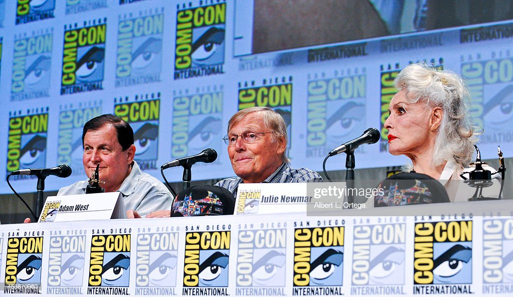 Actors Burt Ward, Adam West and Julie Newmar are honored with an Ink Pot Award at the 'Batman: The Complete Series' panel on Thursday Day 1 of Comic-Con International 2014 held at San Diego Convention Center on July 24, 2014 in San Diego, California.