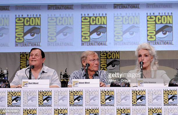 Actors Burt Ward Adam West and Julie Newmar attend the 'Batman The Complete Series' DVD release presentation during ComicCon International 2014 at...