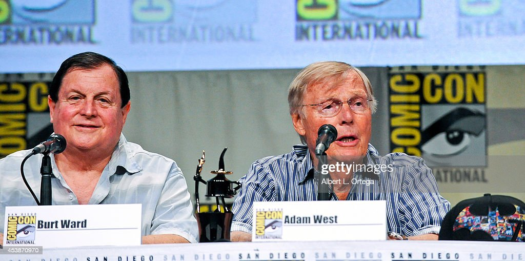 Actors Burt Ward and Adam West are honored with an Ink Pot Award at the 'Batman: The Complete Series' panel on Thursday Day 1 of Comic-Con International 2014 held at San Diego Convention Center on July 24, 2014 in San Diego, California.