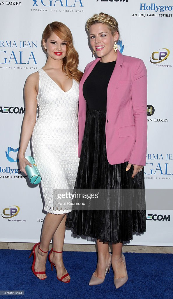 Actors Busy Philipps and Debby Ryan arriving at the 2nd Annual Norma Jean Gala 2014 at The Paley Center for Media on March 18, 2014 in Beverly Hills, California.