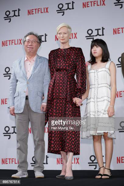 Actors Byun HeeBong Tilda Swinton and Ahn SeoHyun attend the 'Okja' press conference on June 14 2017 in Seoul South Korea