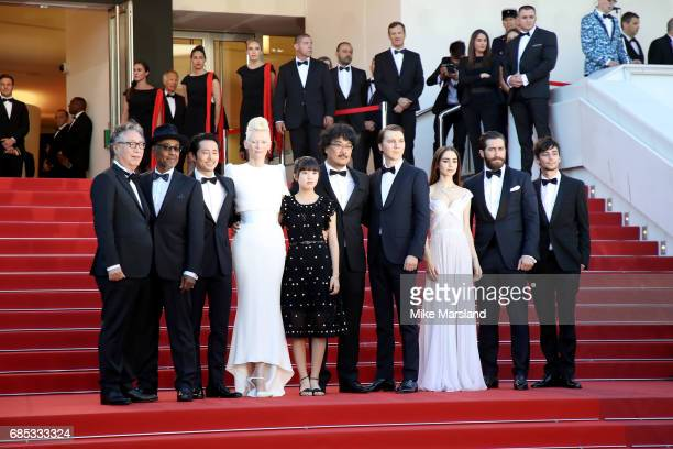 Actors Byung Heebong Giancarlo Esposito Steven Yeun Tilda Swinton and Ahn SeoHyun director Bong JoonHo and actors Paul Dano Lily Collins Jake...
