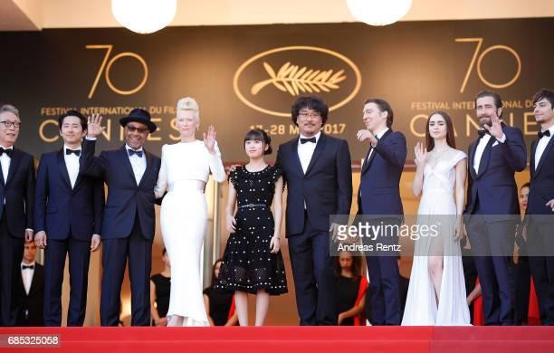Actors Byung Heebong Steven Yeun Giancarlo Esposito Tilda Swinton and Ahn SeoHyun director Bong JoonHo and actors Paul Dano Lily Collins Jake...