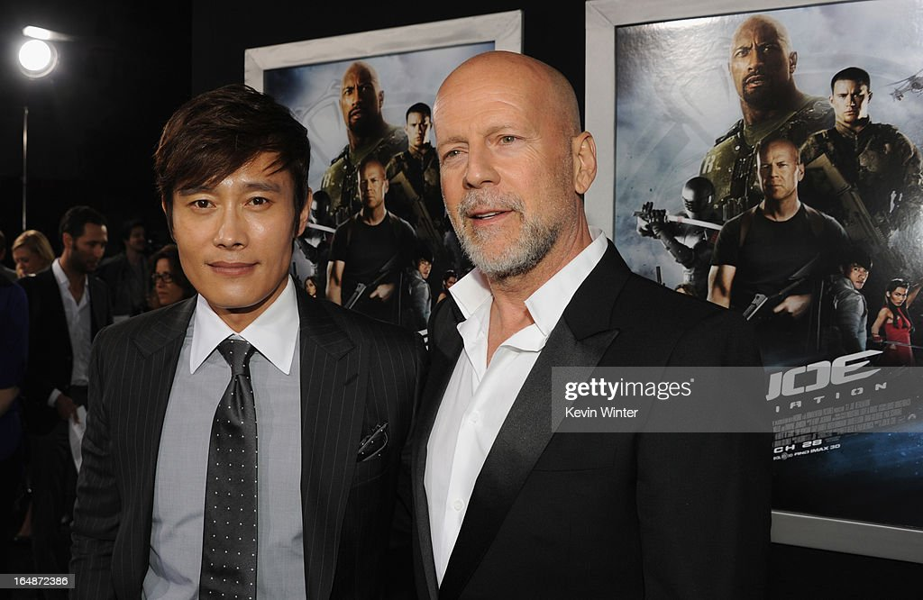 Actors Byung-Hun Lee and <a gi-track='captionPersonalityLinkClicked' href=/galleries/search?phrase=Bruce+Willis&family=editorial&specificpeople=202185 ng-click='$event.stopPropagation()'>Bruce Willis</a> attend the premiere of Paramount Pictures' 'G.I. Joe:Retaliation' at TCL Chinese Theatre on March 28, 2013 in Hollywood, California.