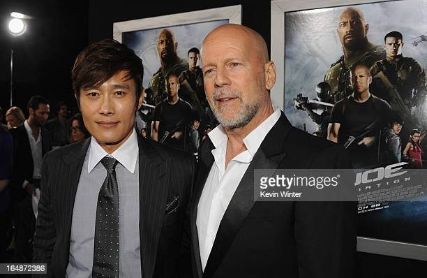 Actors ByungHun Lee and Bruce Willis attend the premiere of Paramount Pictures' 'GI JoeRetaliation' at TCL Chinese Theatre on March 28 2013 in...
