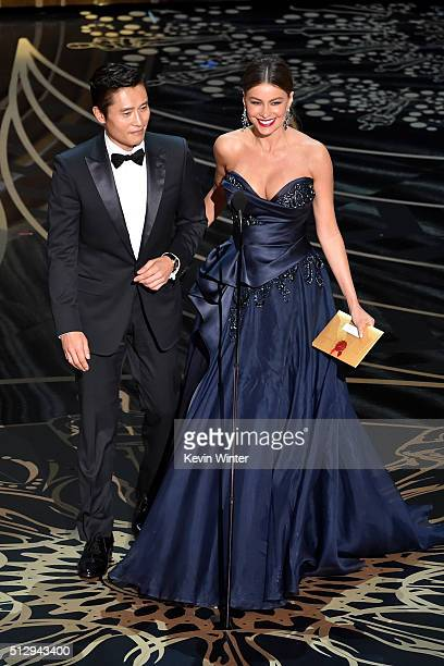 Actors Byunghun Lee and Sofia Vergara speak onstage during the 88th Annual Academy Awards at the Dolby Theatre on February 28 2016 in Hollywood...