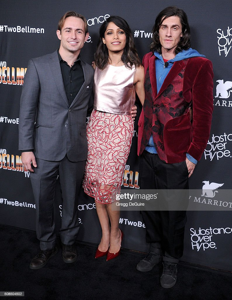 Actors Caine Sinclair, Freida Pinto and William Spencer arrive at the premiere of Substance Over Hype's 'Two Bellmen Two' at JW Marriott Los Angeles at L.A. LIVE on February 4, 2016 in Los Angeles, California.