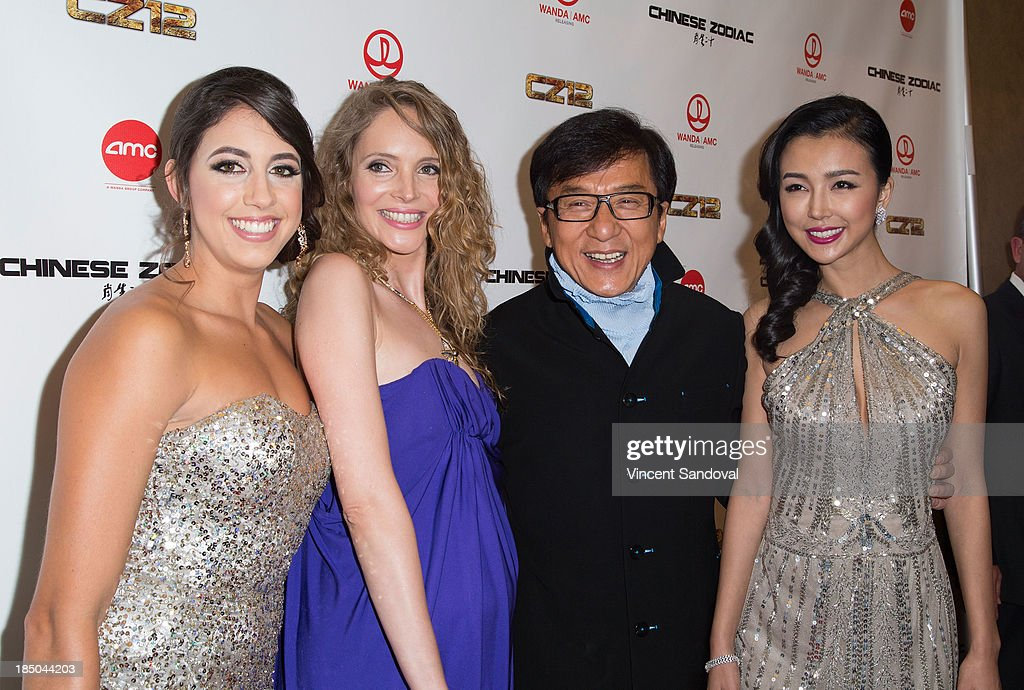 Actors Caitlin Dechelle, Laura Weissbecker, <a gi-track='captionPersonalityLinkClicked' href=/galleries/search?phrase=Jackie+Chan&family=editorial&specificpeople=171455 ng-click='$event.stopPropagation()'>Jackie Chan</a> and Yao Xingtong attends the Los Angeles premiere of 'Chinese Zodiac' at AMC Century City 15 theater on October 16, 2013 in Century City, California.