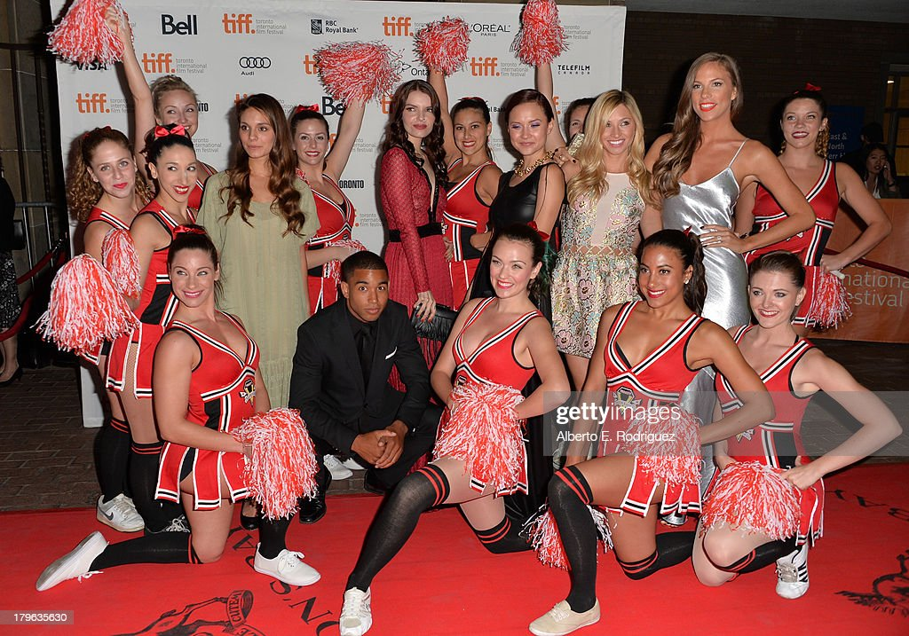 Actors Caitlin Stasey Tom Williamson Sianoa SmitMcPhee Amanda Grace Cooper Brooke Butler and Reanin Johannink arrive at the 'All Cheerleaders Die'...