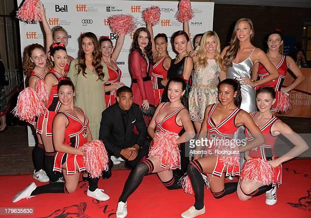 Actors Caitlin Stasey Tom Williamson Sianoa SmitMcPhee Amanda Grace Cooper Brooke Butler and Reanin Johannink arrive at the 'All Cheerleaders Die'...