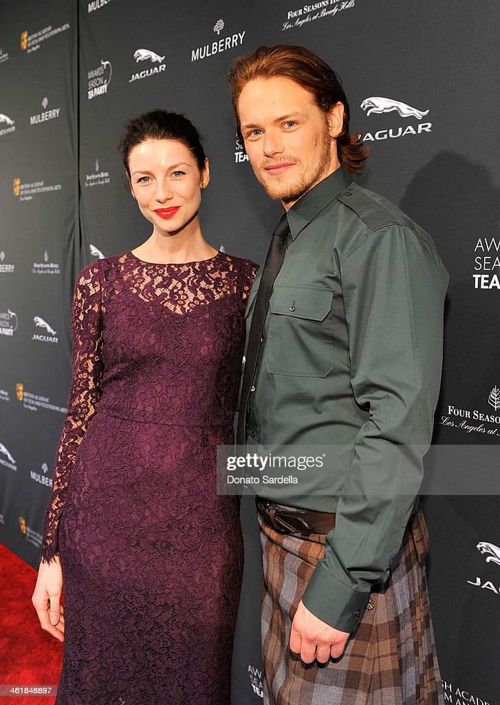 Actors <a gi-track='captionPersonalityLinkClicked' href=/galleries/search?phrase=Caitriona+Balfe&family=editorial&specificpeople=4359165 ng-click='$event.stopPropagation()'>Caitriona Balfe</a> (L) and <a gi-track='captionPersonalityLinkClicked' href=/galleries/search?phrase=Sam+Heughan&family=editorial&specificpeople=6931997 ng-click='$event.stopPropagation()'>Sam Heughan</a> attend the BAFTA LA Awards Season Tea Party with Mulberry at the Four Seasons Hotel Los Angeles at Beverly Hills on January 11, 2014 in Beverly Hills, California.