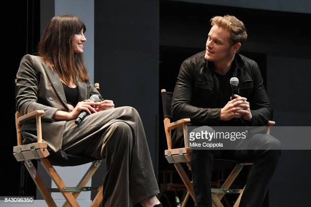Actors Caitriona Balfe and Sam Heughan attend the New York Red Carpet Premiere of Outlander Season Three Hosted by Starz and Entertainment Weekly in...