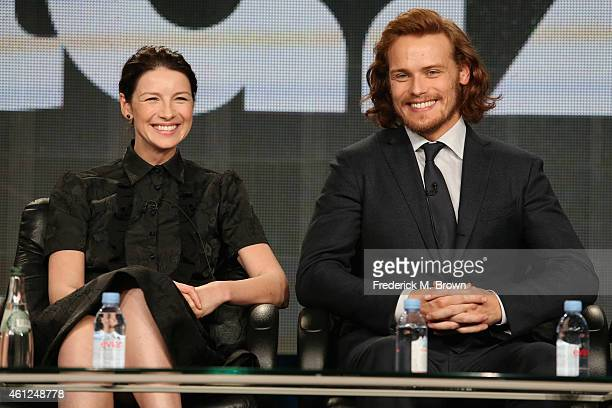 Actors Caitriona Balfe and Sam Heughan speak onstage during the 'Outlander' panel at the Starz portion of the 2015 Winter Television Critics...