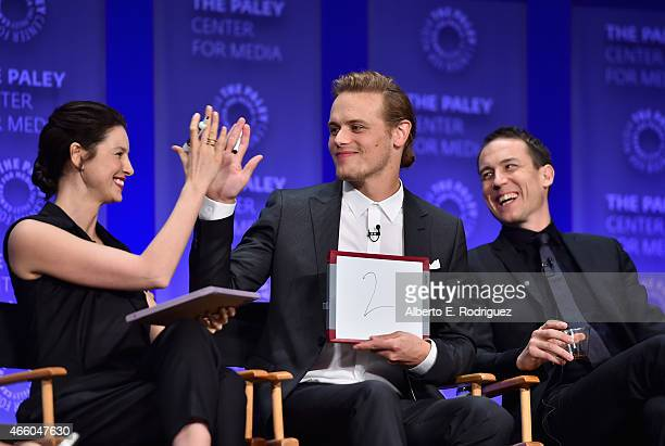 Actors Caitriona Balfe Sam Heughan and Tobias Menzies attend The Paley Center for Media's 32nd Annual PALEYFEST LA 'Outlander' at Dolby Theatre on...