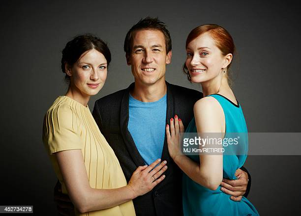 Actors Caitriona Balfe Tobias Menzies and Lotte Verbeek pose for a portrait at the Getty Images Portrait Studio powered by Samsung Galaxy at ComicCon...
